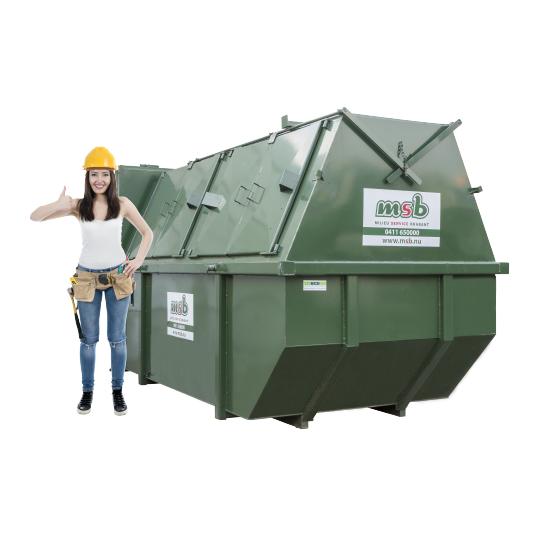 10 m³ gesloten afzetcontainer bedrijfsafval/ restafval