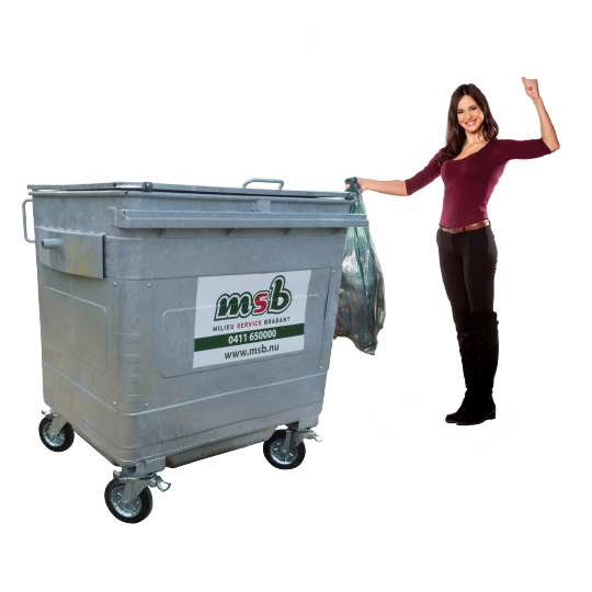 1100 liter stalen rolcontainer bedrijfsafval/ restafval