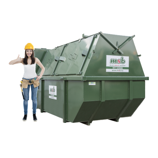 10 m³ gesloten afzetcontainer hout