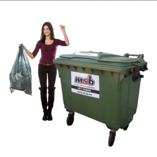 1100 liter kunststof rolcontainer bedrijfsafval/ restafval