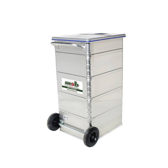 240 liter aluminium gesloten rolcontainer vertrouwelijk papier