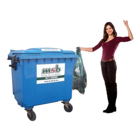 Inzameling papier/karton middels een rolcontainer